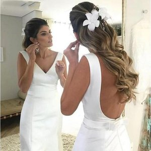 Simple White Satin Mermaid Wedding Dresses Sexy Backless V Neck Bow Sash Bridal Gowns Sweep Train Sleveless Bride Dress Vestidos de novia