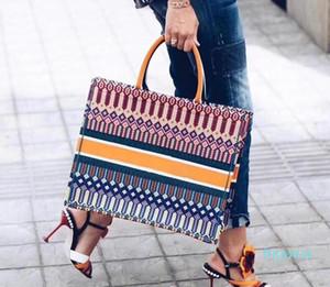 Designer-colorido compras bolsa jacquard lona tecido saco de lona Duplo design lidar com grande alça de ombro Grande crossbody capacidade