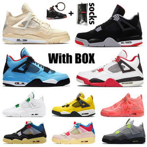 With Box 4 Jumpman 4s Union Mens Womens Basketball Shoes Sail Hot Punch Cactus Jack Sneakers Trainers