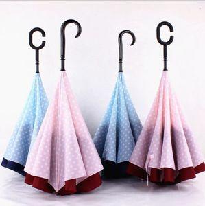 Dots reverso do guarda-chuva à prova de vento reverso Folding Double Layer invertido Umbrella Stand Chuva Protecção C-Gancho J-gancho-chuvas OOA2132