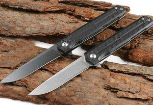 High Quality Ball Bearing Flipper Folding Knife 8Cr13Mov Black   Stone Wash Drop Point Blade Black G10 + Stainless Steel Sheet Handle