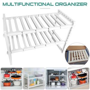 Adjustable Kitchen Storage Rack Metal Cupboard Storage Shelf Non-Skid Spice Rack Under Sink Shelf Kitchenware Organizer C0927