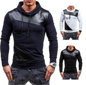 İnce Uzun kollu Yüksek Yaka T Shirt Moda Erkek Tees Deri Kasetli Mens Tasarımcısı Tshirts Casual
