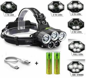 3 * T6 + 2 * 5 XPE LED proyector 15000 lúmenes USB recargable de la linterna para que acampa yendo de pesca al aire libre luz de la cabeza de la lámpara de emergencia con 2 * 18650
