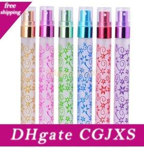 Çoklu Renk 10ml Benzersiz Baskı 6 Renk Mini Atomizer Cam Seyahat Küçük Vaporisateur Parfüm Parfüm Şişeleri Spray