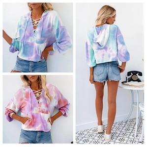 Gradient Hoodies Frauen-Damen Winter-Blusen Pullover Hoodie Pullover Tops Mode Kleidung Tie-Dye Druck langärmlige Sweatshirt New CZ82701
