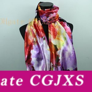 9styles Lavender Red Black Lily Flower Women &#039 ;S Fashion Satin Oil Painting Long Wrap Shawl Beach Silk Scarf 160x50cm S82 -S90