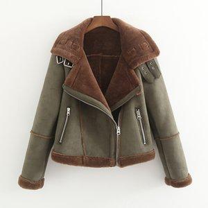 MUMUZI Faux Fur spessore parka inverno caldo moda Cappotti Donne 2019 Streetwear finto di pecora cappotti femminile esercito verde Giacche T200905