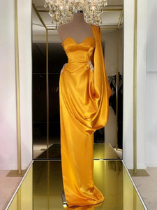 Ouro Prom Dresses Sexy querida mangas Varrer Train Mermaid Satin Evening Dresse um ombro vestidos de fiesta de noche