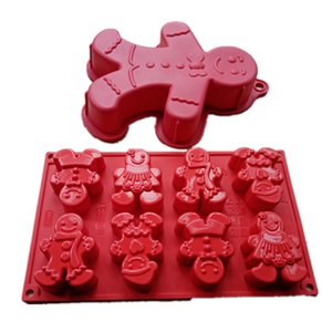 1Pc Cake Tools Christmas Theme Gingerbread Man Mould Baking Silicone Cake Mold Non-stick Single Cavity  8 Cavity Moulds