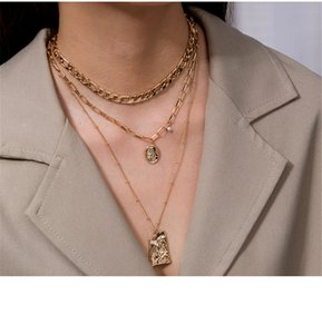 European and American heavy metal texture Buddha head relief pendant sweater chain women simple multilayer necklace jewelry
