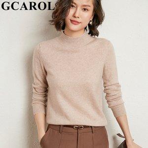 GCAROL Inverno Mulheres gola 30% Wool Sweater macio minimalista básico Jumper Jersey estiramento Muti ocasião Knitwear 2XL
