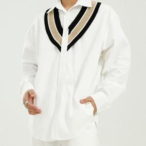 Мужчины Женщины Streetwear Мода Хип-хоп Сыпучие Рубашки Мужчины Knit сращивания печати с длинным рукавом Повседневная рубашка