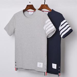 Moda TB THOM marchio T-Shirt manica corta Donna Uomo Abbigliamento casual camice di cotone a righe solido Estate O-collo 200925