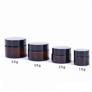 5g 10g 15g 20g 30g 50g Amber Brown Glass Face Cream Jar Refillable Bottle Cosmetic Makeup Storage Container with Gold Silver