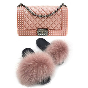 Fashion luxury rainbow chain lady colorful bags candy jelly hand bags handbags fur slippers and purse slides and purse set
