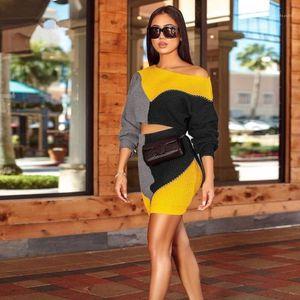 Slim Crew Neck Designer Autumn Winter Panelled Womens Two Piece Dress Fashion knitting Contrast 2PS Set