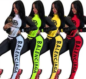 2020 nuovo stilista a due pezzi a maniche lunghe vestito di sport delle donne del vestito di sport cucire il vestito di sport logo street casual top delle donne