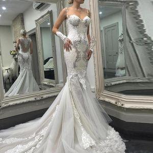 Vintage Berta 2020 Mermaid Wedding Dresse With Glove Sexy Spaghetti Strap Lace Appliqued Sweep Train Bridal Gowns Vestidos De Novia