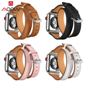 Genuine Leather Watchband 38mm 42mm Fashion Double Circle Slim Replacement Bracelet Strap Band 1 2 3
