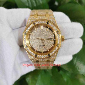 Artículos calientes Reloj de la mejor calidad 41mm 15502 Pulsera de beze de diamante completa 18k Relojes automáticos mecánicos de oro amarillo transparente