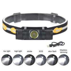D10 3000lumens XM-L2 LED-Scheinwerfer USB aufladbare Fahrrad Scheinwerfer 18650 Kopflampe Camping Fischen