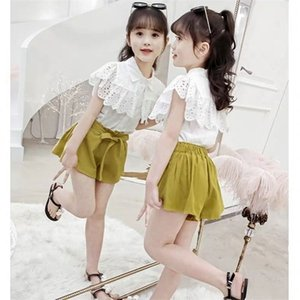 2020 Fashion Kids Summer Girls Clothes Short Sleeve And Short Pants Dress 2Pcs Set Casual Baby Girls Outfit From 3 to 12 Yrs