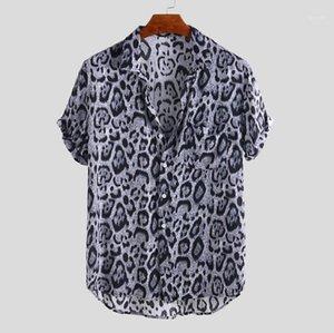 레오파드 프린트 느슨한 짧은 소매 옷 깃 넥 셔츠 여름 남성 셔츠 캐주얼 스타일 남성 디자이너 셔츠 패션