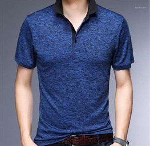 Buttons Panelled Summer Short Sleeve Mens Tees Casual Males Clothing Solid Color Mens Designer Tshirts Fashion
