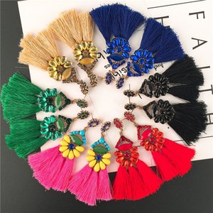 Europe And America Exaggerated Earrings Long Ethnic Style Jewelry Tassel Earrings Anti-Allergic Wild Fashion Earrings Spot Wholesale