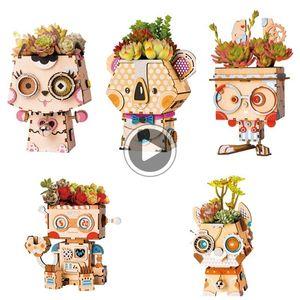 Tiesto Tiesto Rolife la historieta DIY de madera Decoración suculentas ox Jardín onsai Pot para jardín de flores del ome i decoración T200104 Abby
