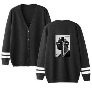 Pullover Cardigan Hip Hop-Buchstabe gedrucktes loser Knopf Langärmlig mit V-Ausschnitt-Pullover Mode-Männer Pullover Pop Rapper Mens Designer