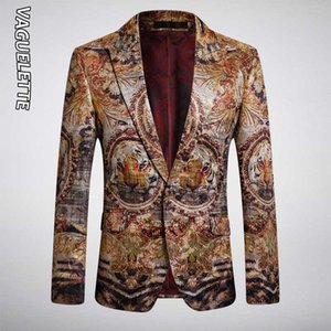 VAGUELETTE Luxury Tiger Pattern Printed Пиджаки Slim Fit Свадьба Stage Club Wear для певцов Blazer животных печати пальто куртки