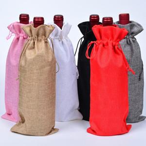15 * 35cm Noel Dekor çuval bezi Şampanya Şarap Şişesi Çanta Kapaklar Parti Festivali Hediye Kılıfı Çanta DHA913 Packaging