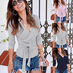 New Fashion Women Navy Blue Slim Deep V Neck Gray Shirt Crop Top Pink Ladies Casual Solid Long Sleeve Blouse White Sweater