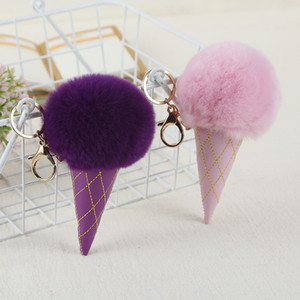 Ice Cream Pompom Ball Keychain PU Leather Key Chain Keyring Women Kids Key Holder Bags Pendant Car Key Ring Party Favor 12 Colors BH3190 DBC