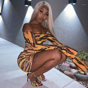 Mode Off épaule Femmes Sexy Robes Designer Femmes Vêtements décontractés Tiger Stripes Imprimer Womens Robes Casual