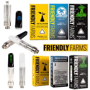 Amigável Farms Vape Cartuchos Packaging 0,8 mL de cerâmica de vidro grosso Oil Vape Carrinhos Dab Pen Wax vaporizador Atomizador cigarros e 510 Tópico