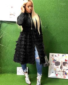 Panelled Jacket Solid Color Coats Spring Autumn Womens Clothing Womens Designer Long Jackets Zipper Gauze