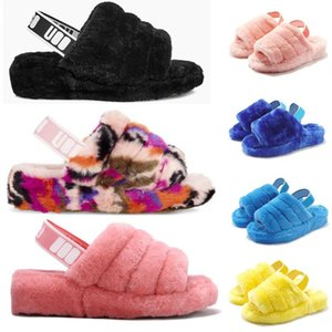 2020 Nueva peludo zapatillas Australia bebés UGG pelusa sí deslice zapatos casuales las mujeres mujeres de lujo de tamaño sandalias de piel de pelo Diapositivas 36-44 YqxS #