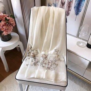 Scialli di alta qualità Hangzhou Seta Plum Plum Blossom Ricamo Grigio / Pink / Blue Wool Women 'Sciarpa scialle Dimensioni: 85 * 200 cm (Lavaggio a secco)