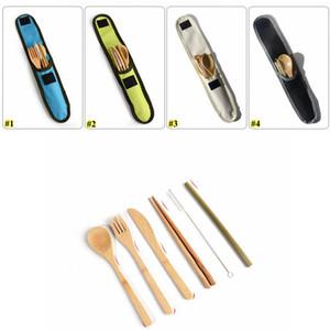7pcs de bambú ecológico Cubiertos Viajes Cubiertos vajilla de paja de bambú portátil con bolsa de tela cuchillos tenedor cuchara palillos AHC1853