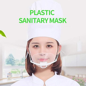 100PCS Professional Transparent Sanitary Cover Masks Permanent Anti Fog Catering Food Hotel Plastic Kitchen Restaurant Masks Free Shipping