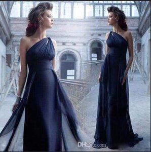2020 Yeni Şık Bir Should A Hattı Beridesmaid Elbiseler Ruffle şifon Floor Boyu Onur Elbiseler Akşam Misafir Elbiseler Plus Boyutlar Maid