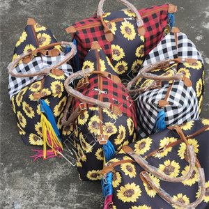 Women Fashion Sunflower Grid Print Travel Tassel Bags Waterproof Storage Shopping Handbag Eco-Friendly Grocery Big bag D81904