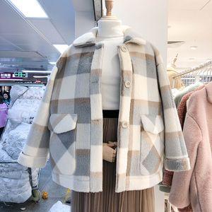 2020 여성을위한 가을 자켓 패션 양모 블렌드 가짜 모피 코트 여성 자켓 겨울 코트 여성 느슨한 두꺼운 따뜻한