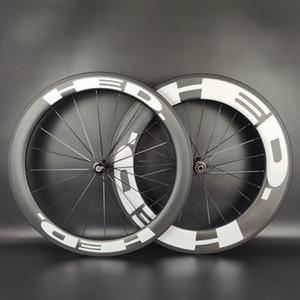 HED 700C Yol C tekerlekler ön 60mm arka 90mm derinliği 25 mm genişlik düğüm / iç lastiksiz / boru şekilli karbon tekerlek UD matlaştırılmış