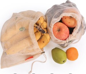 Environmental Protection Reusable Fruit Bag Fruit String Grocery Shopper Cotton Tote Mesh Woven Net Bags