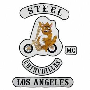 أروع STEEL CHINCHIL LAS بارد للدراجات النارية الكبيرة العودة PATCH ROCKER CLUB VEST OUTLAW BIKER MC PATCH FREE SHIPPING aVdQ #