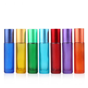 High Quality Blue Green Pink Black Amber Mini 10ml ROLL ON GLASS BOTTLE For Fragrances ESSENTIAL OILS Stainless Steel Roller Ball LX2868